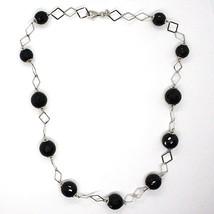 925 Silber Halskette, Onyx Schwarz Facettiert, Länge 45 cm, Kette Rhomben image 2