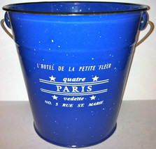 Unused, Blue Painted Tin Pail w/Handle with French Design - $20.00
