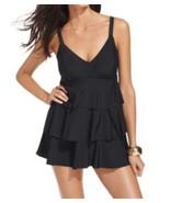 Swim Solutions Swimdress Sz 8 Black Tiered Tummy Control Swimsuit 502503... - $49.44