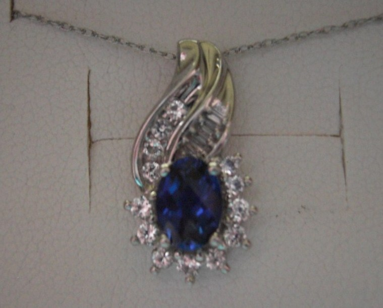 10k Gold Sapphire Pendant  Diamond Necklace White Gold 18 inch chain included Bonanza