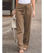 S-5XL Women Elastic Waist Casual Wide Legs Long Pants Solid Yoga Trousers - $35.99