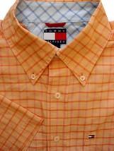 TOMMY HILFIGER Shirt Mens 16 M Orange - Check SHORT SLEEVE - $37.47