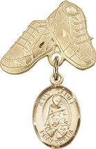14K Gold Filled Baby Badge with St. Daniel Charm and Baby Boots Pin 1 X 5/8 inch - $102.90