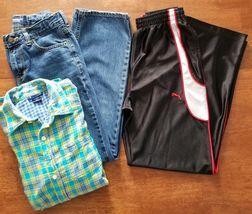 Old Navy Gap Puma Boy Jeans Shirt Active Pants Sz 14 Large Blue Yellow B... - $12.99