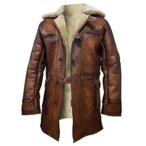 The Dark Knight Rises Tom Hardy Bane Shearling Leather Trench Coat Jacket - $124.99