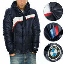 BMW PUMA Men's Premium Insulated Packable Hooded Logo Navy Puffer Jacket - M