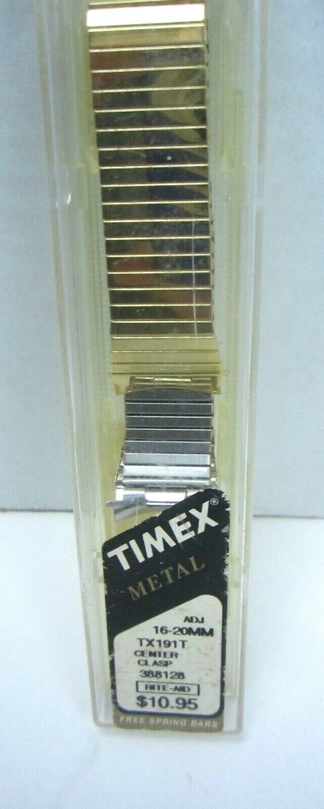 Primary image for Timex Expansion Watch Band TX191T VINTAGE 16mm-20MM Stainless steel Yellow NOS