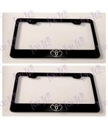 2X 3D Toyota Logo Black On Black Stainless Steel License Plate Frame W/ Caps - $42.56