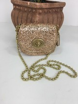 Coach Bag Evening Poppy Gold Sequin Crossbody Leather Chain 43292 Gold B2E - $79.19