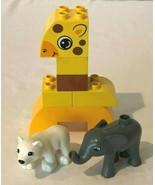 Lego Duplo Jungle Zoo Animals Lot of 3 Giraffe Blocks Elephant Polar Bear - $5.99