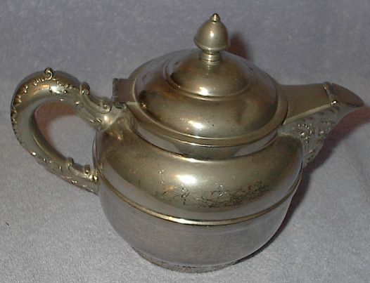 Antique Rochester Nouveau Silver Plate and Pewter Tea Pot