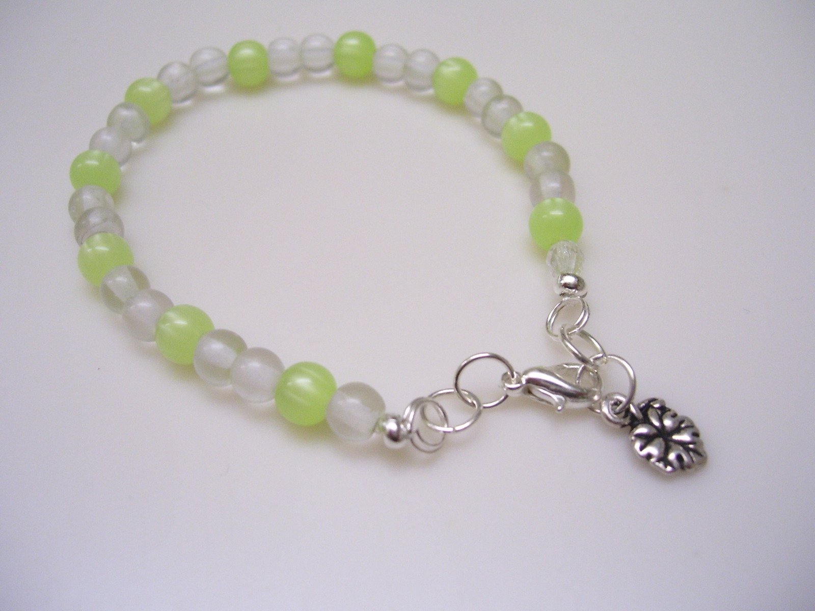 Spring Green Moonglow Beaded Bracelet w/Grape Leaf Charm