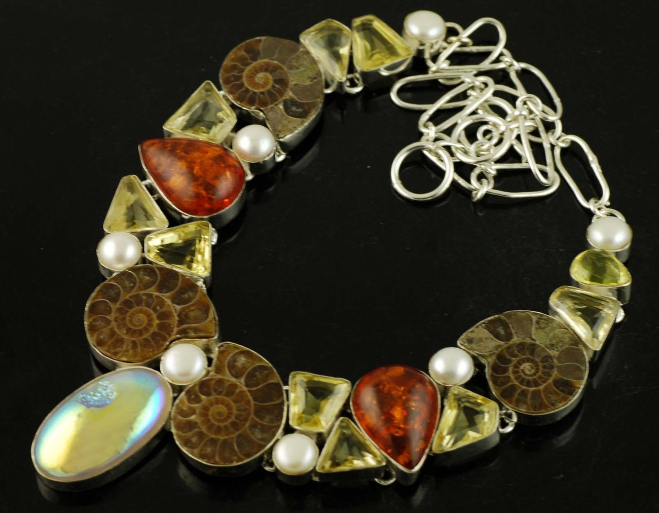 Stunning Ammonite Fossil, Baltic Amber, Citrine .925 Sterling Silver Necklace