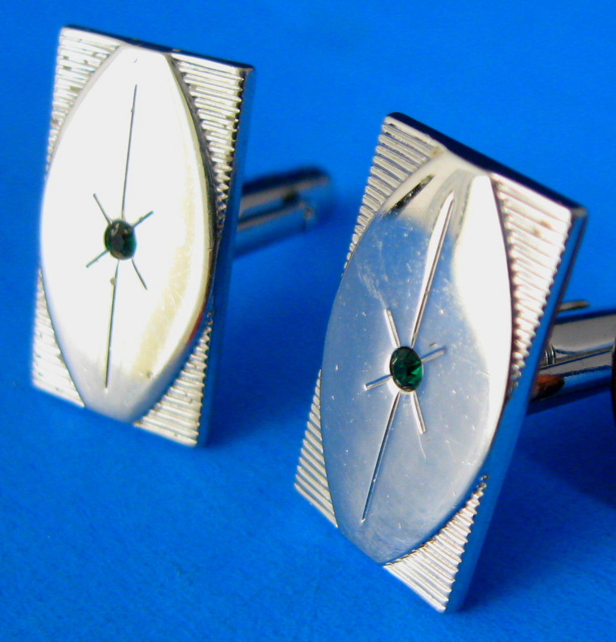 Primary image for Atomic Mid Century Cufflinks Anson Silver Moderne Green Rhinestones 1950s Modern