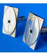 Atomic Mid Century Cufflinks Anson Silver Moderne Green Rhinestones 1950... - $30.00