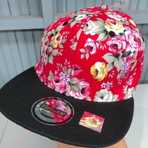 Floral Hawaiian Red Headlines Snapback Baseball Cap Hat 100% Cotton - $13.75