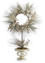 """Melrose 28"""" Champagne Artificial Christmas Pine Wreath Snowflakes and Ri... - $77.95"""