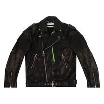 Off-White Leather Oversize Jacket 'Black' - $1,500.00