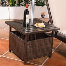 Outdoor Patio Rattan Wicker Steel Side Deck Table High Quality Eco-frien... - $137.24