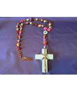 Large Turquoise Stone Cross Silver Wrapped Pendant Necklace & Rosary Beads - $24.99