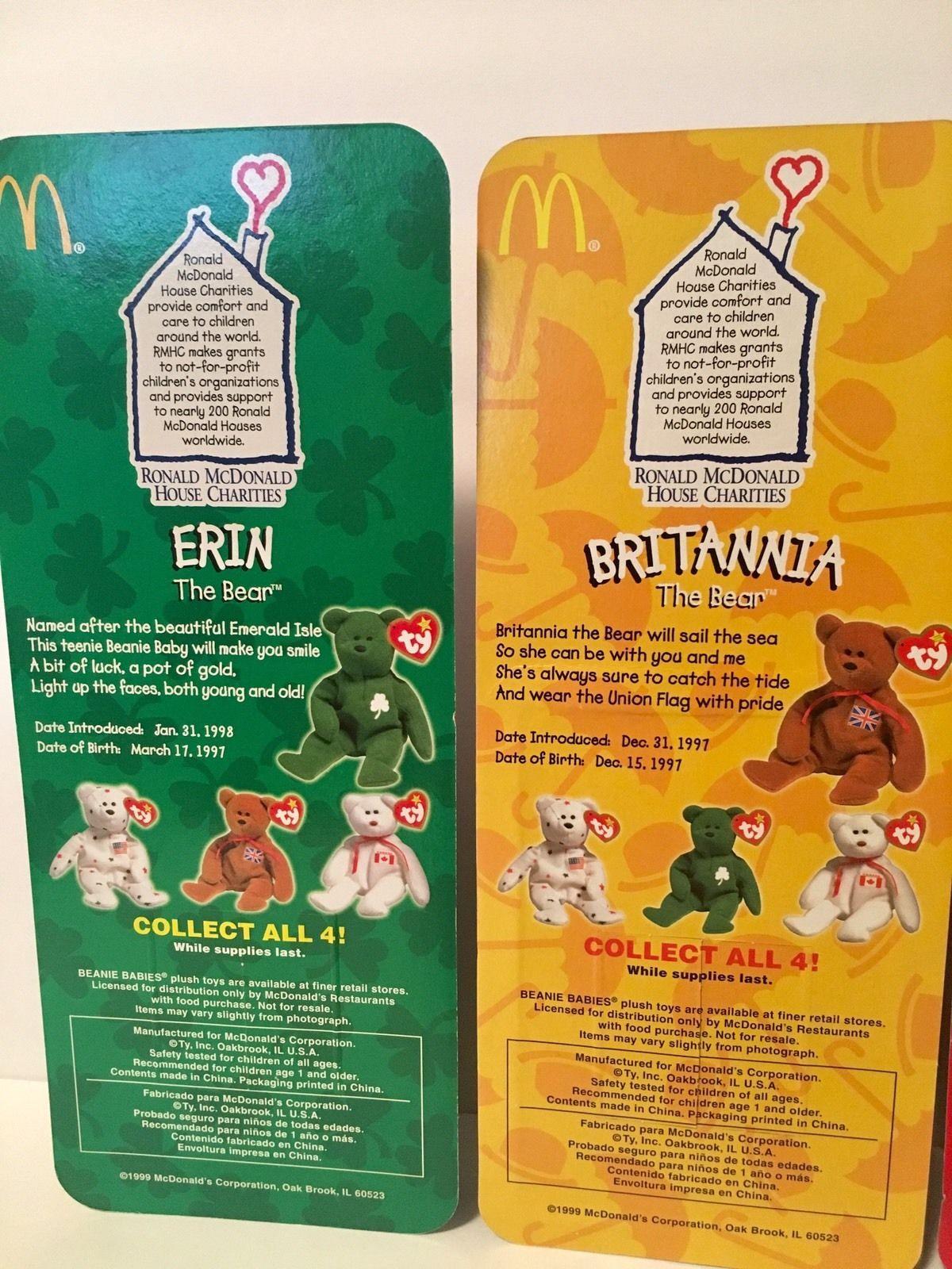 Beanie Babies Ty Plush Erin Britannia Maple Glory Set of 4 Teenie Beanies