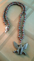 Vintage Trade Bead & Hematite Necklace with Carved Eagle, Natural Stone image 2