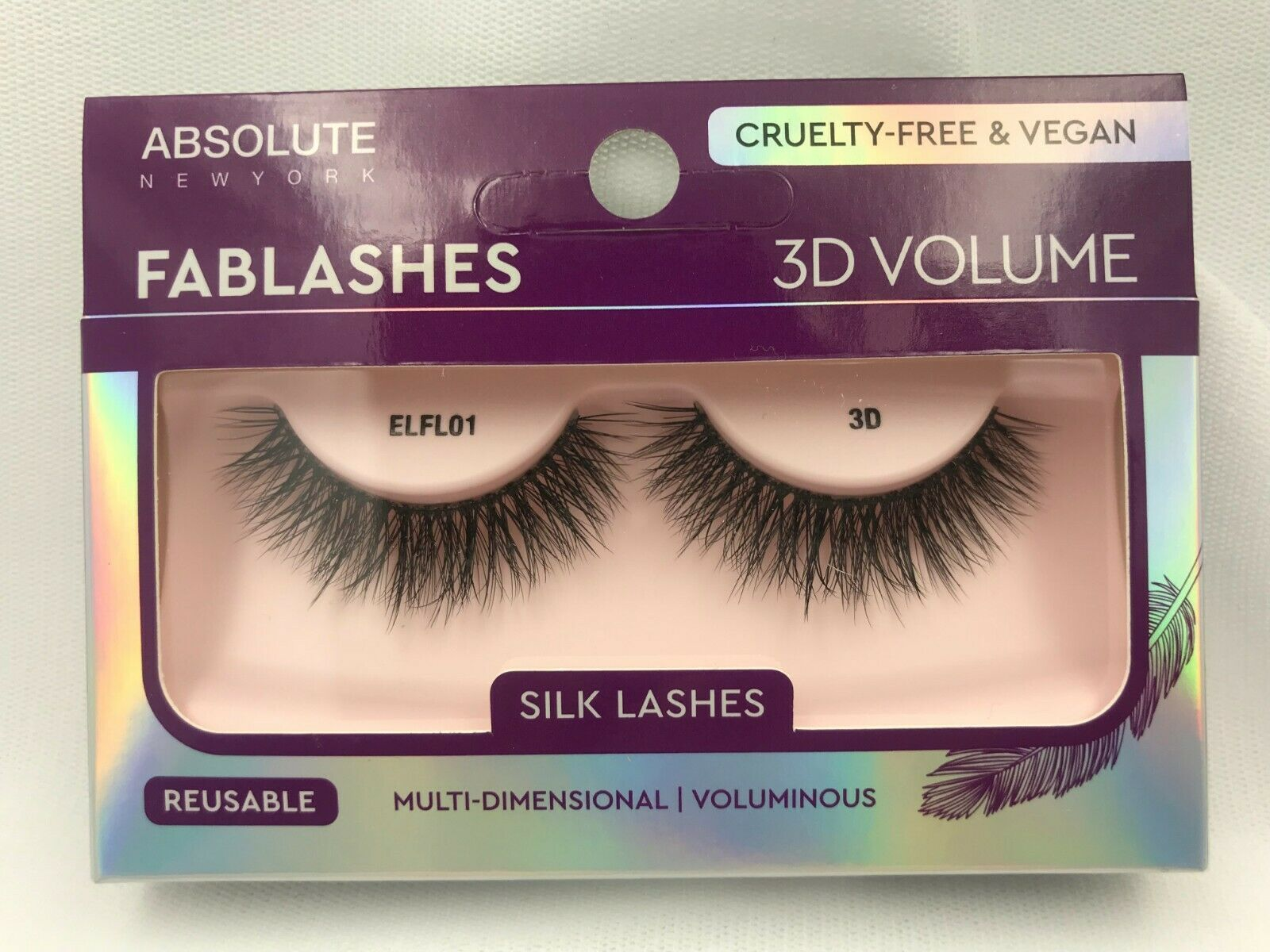 Primary image for ABSOLUTE NY 3D VOLUME FABLASHES SILK LASHES CRUELTY FREE & VEGAN REUSABLE ELFL01