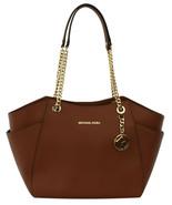 Michael Kors Jet Set Travel Shoulder Bag Luggage Brown Medium Leather Ha... - $320.22