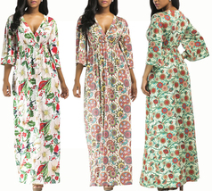 Women's Long Floral Print V-Neck Summer Maxi Dress With Belt - $29.99
