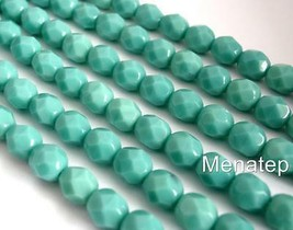 25 6mm Czech Glass Firepolish Beads: Opaque - Turquoise - $3.01