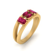 Marquise and Emerald Cut Pink Ruby Classic Engagement Ring 925 Sterling Silver - $114.99