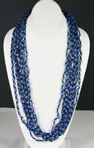 "27"" Vintage Black & Light Blue Beads Necklace Indian Necklace Asian Folk Art - $18.99"