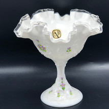 VINTAGE FENTON GLASS POTTERY ART signed signature series Milk White hobn... - $178.20