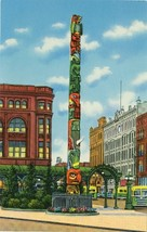WA Seattle Native American Totem Pole Pioneer Square Curteich 1951 Postcard - $4.99