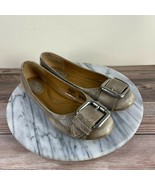Fossil Maddox Gray/Beige Leather Buckle Round Toe Ballet Flats Womens Si... - $24.95