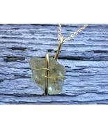 Mysterious Past necklace: Estonian sea glass with gold color wire - $34.00