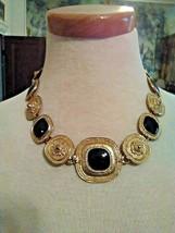 Vintage Golden Choker Necklace Carved Square Links Enamelled In Black - $45.00