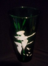 Anchor Hocking Forest Green Glass Tumbler With White Geese and Cattails-... - $12.00