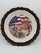 Longaberger Homestead Plate & Metal Plate Stand Wall Hanger 2003 - $12.82