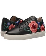 Skechers VASO PINTAR Black Leather Embroidered Bright Flowers Sneakers W... - $68.99