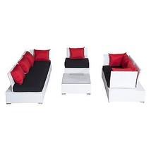 Luxury Wicker Garden Rattan Set Patio Sofa 2 Chairs Coffee Table Cushions White  image 2