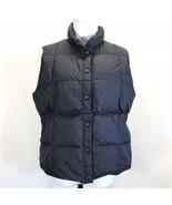 Lands End Black Down Puffer Vest Womans Large Snap Front Pockets - $19.30