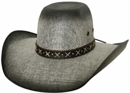 Bullhide Ranny Bangora Straw Cowboy Hat Wide Brim Cross Hatch Band Black... - £47.34 GBP