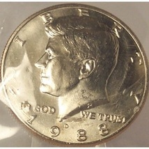 1988-D Kennedy Half Dollar BU In the Cello #0859 - $5.29