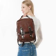 Vintage Women Backpack PU Leather School Bag Laptop Travel Solid Brown R... - $44.99