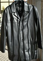 WILSONS LEATHER Pelle Studio Long Black Leather Jacket Heavy Thinsulate Size L - $173.24