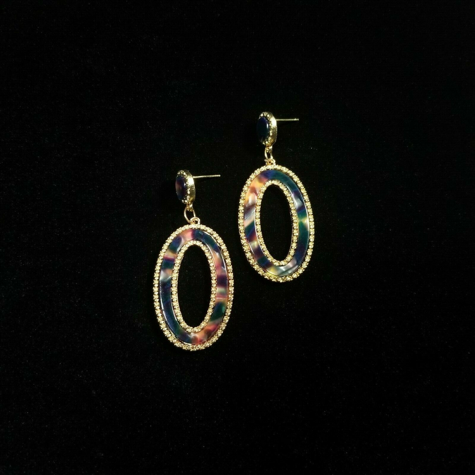 Primary image for Trendy Urban Gold Tone Multi Color Acrylic Oval Shape Drop Dangle Post Earrings