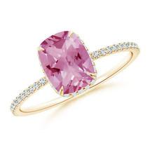 Thin Shank Cushion Cut Pink Tourmaline Diamond Engagement Ring 14k Yello... - £672.93 GBP