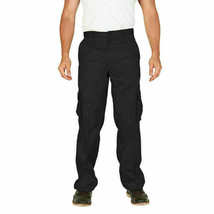 Men's Tactical Military Army Work Twill Black Cargo Pants Trousers - 32W x 32L