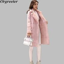 Plus Size S XXL Fleece Women Lamb Wool Long Coat 2018 Warm Autumn Winter... - $68.90